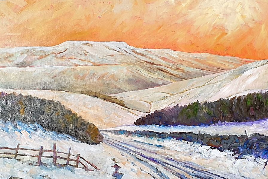 """Pen Hill, Leyburn (oils) 28"""" x 20"""" canvas £200"""