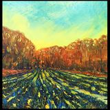 """Wet Field (oils on canvas) 16"""" x 16"""" £200 Available from The Chapel Gallery, Hawes"""