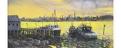 """Harbour a Study in Grey (oils) 20"""" x 16"""" £180"""