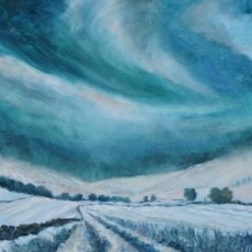 """Frosty Fields near Muker, Swaledale (oils) £350 (20x20"""") Available from The Chapel Gallery, Hawes"""