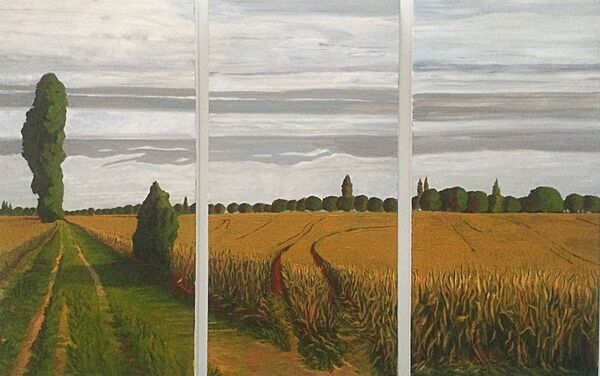 Fields at Cawood in the Vale of York - triptych (acrylic)