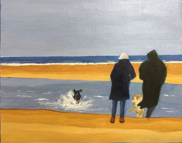 """""""No Greater Therapy than Dogs on a Beach"""" (oils) £150"""