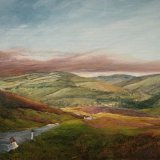 Burning Heather above Reeth. A view from Grinton Moor (oils). £300 (19.75x15.75) Available from The Chapel Gallery, Hawes