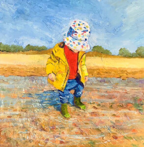Plodging in my Green Wellies (oils) £280