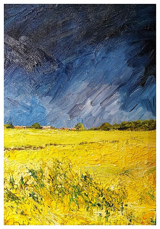 Storm over Carthorpe (oils) 29 x 38 cms approx SOLD