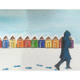 The Beach Huts (watercolour) Christmas Card 2018
