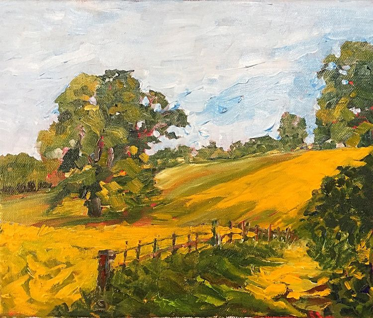 Fields at Sleningford (oils 30 x 25 cms ) £120