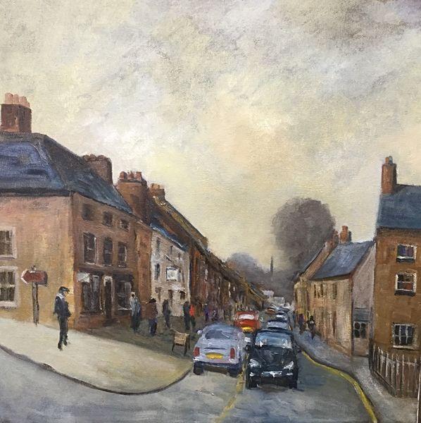 "Silver Street, Masham. (Oils) canvas 20"" x 20"" £280"
