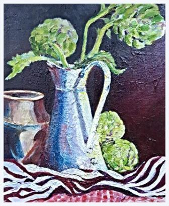 "Still Life with Artichokes (oils) £120 (10x12"")"