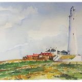 St Mary's Lighthouse, Whitley Bay - watercolour £60