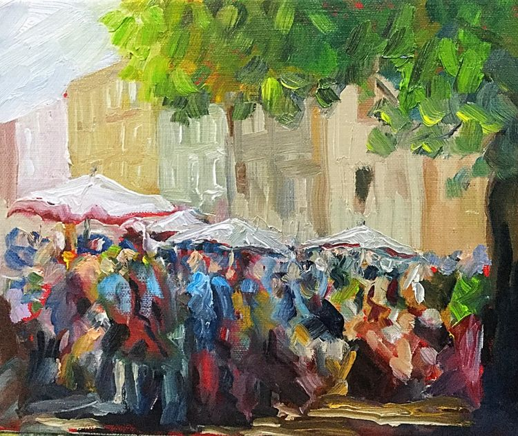 Market Day, Carcassonne (oils on canvas) 30 x 25 cms SOLD