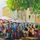 Market Day, Carcassonne (oils on canvas) SOLD