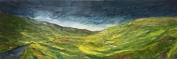 Dales Landscape (oils and collage on canvas) 60 x 20 cms £90