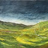Dales Landscape (oils and collage on canvas) 60 x 20 cms £100