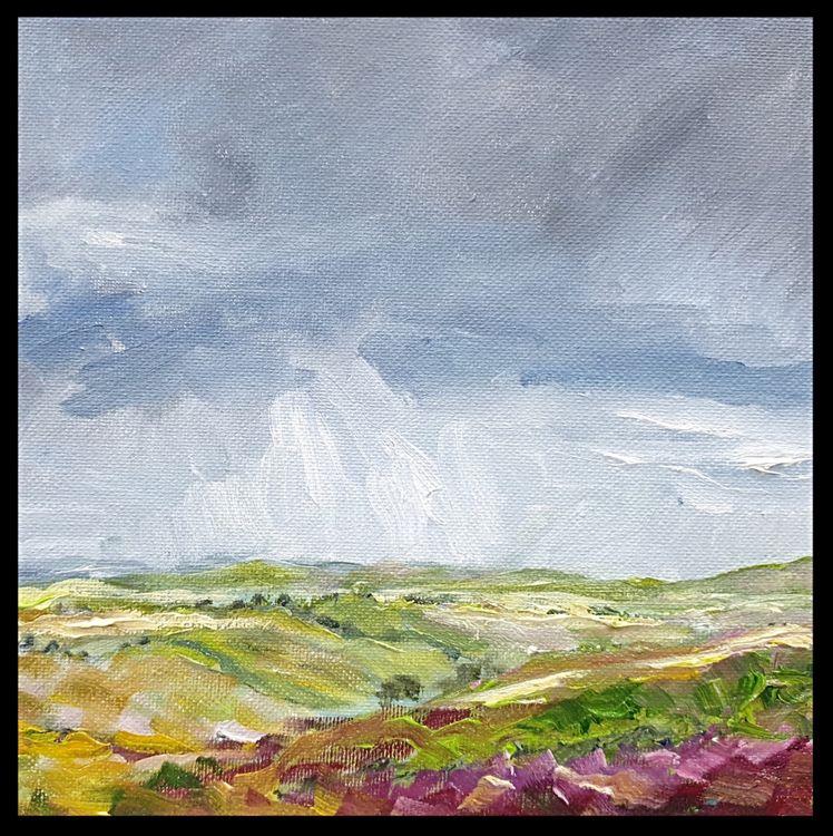 Storm over Grinton Moor (oils on canvas) 25 x 25 cms £95