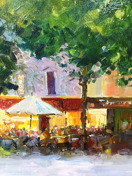 Evening Dining in Carcassonne (oils on canvas) 25 x 30 cms £150