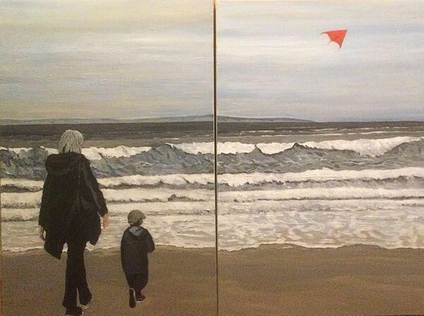 The Kite Flyer - diptych (acrylic)
