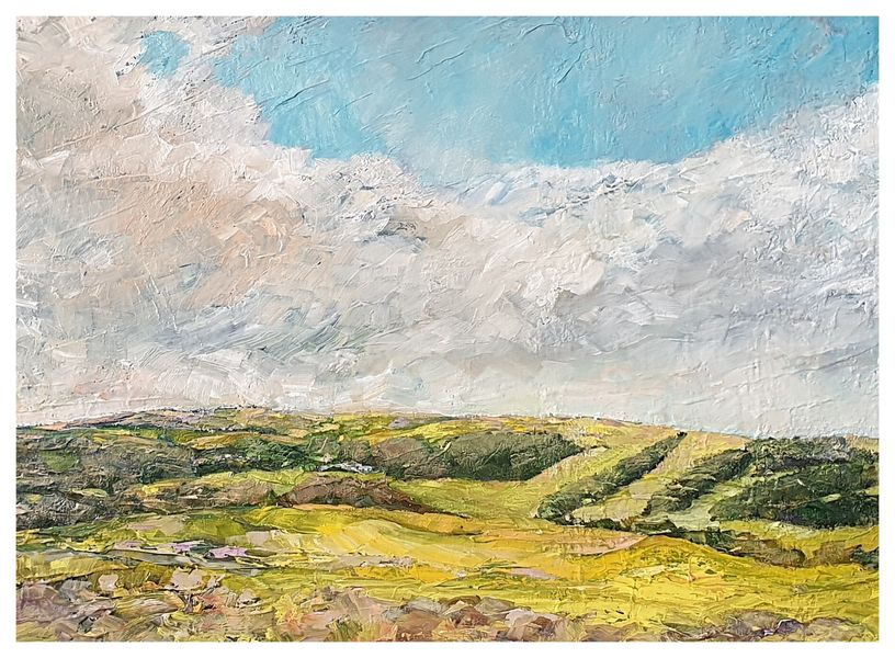 View from Roomer Common, Masham (oils) 30 x 20 inches approx £180