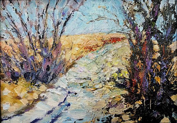 Snowy Lane (oils) 18 x 13 cms approx £75