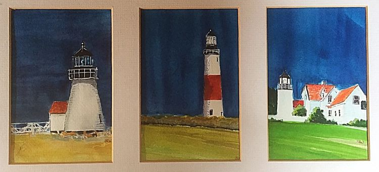 New England Lighthouses - watercolour