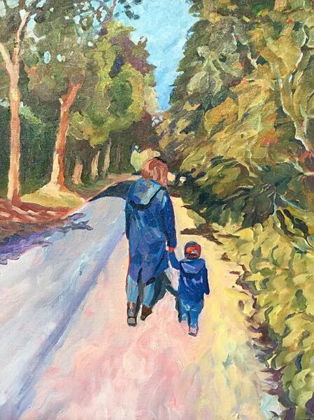 A Walk with Mummy (oils) SOLD
