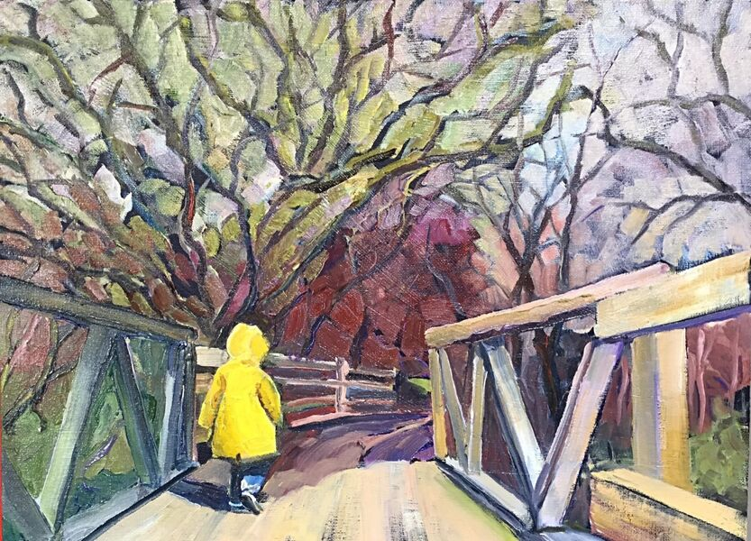 """Little Boy on a Big Bridge (oils) 16"""" x 12"""" £350 Available from Moorlands Gallery, Bedale or contact me."""