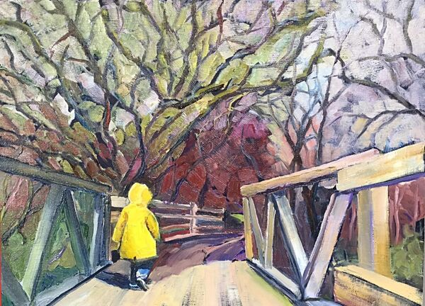 "Little Boy on a Big Bridge (oils) 16"" x 12"" £350 ,"
