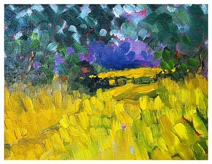 """Summer Glade, Wensleydale  (oils) £90 (8x6"""")"""