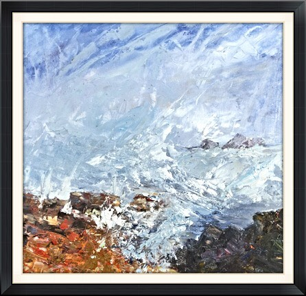 "Cape Cornwall (acrylic) £150 (15.5x15.5"")"