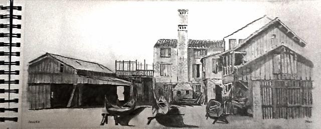 Squero, Venice (pencil) Not for Sale