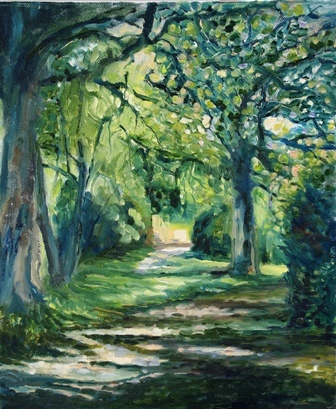 "Last of Summer - driveway at Sleningford Galleries (oils) £130 (8x11.5"")"