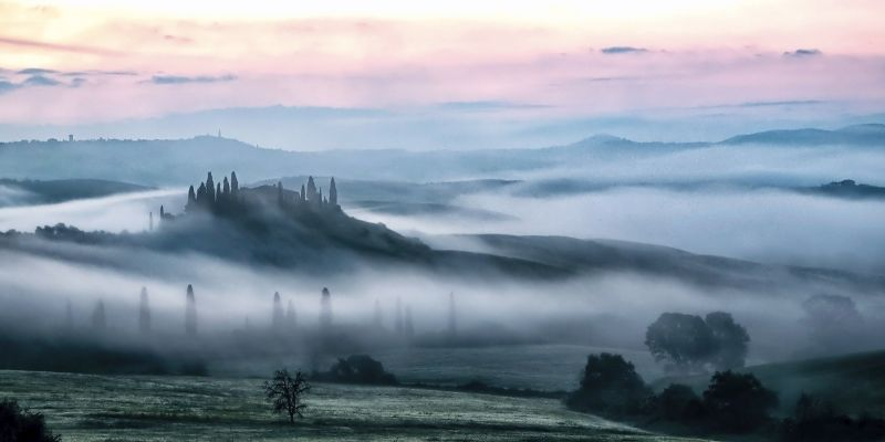 01 Morning Mist, Tuscany by Mary Cantrille