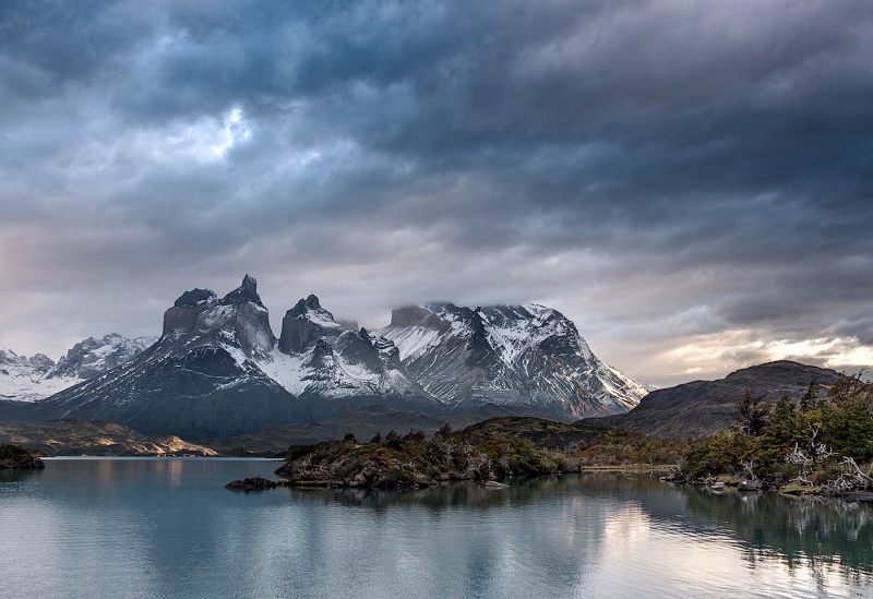 Cuernos del Paine across Lake Pehoe by Jane Tearle