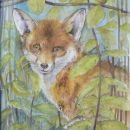 Elwyna - fox in nettle bed 24x30.5cm approx