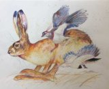 Hare with lapwings 42x30cm