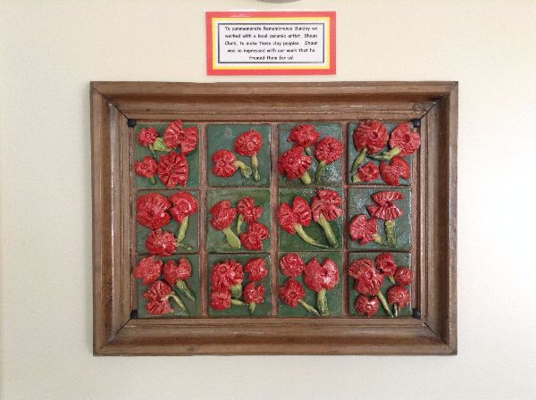 Poppy panel for remembrance day at Hallcroft Primary School