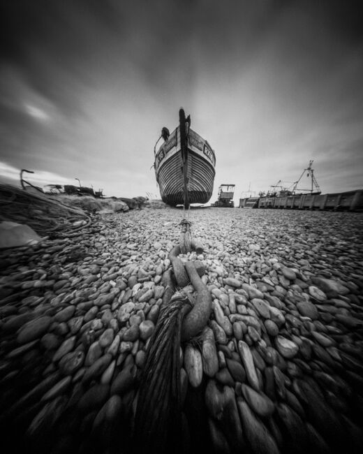 Fishing boat on Hastings beach, East Sussex.