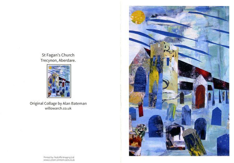 art card, collage, church, wales, aberdare
