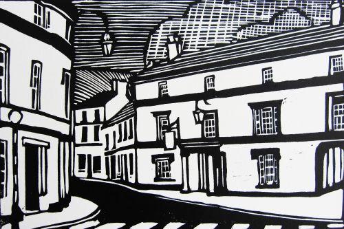 bear, crickhowell, pub, lino cut, art, print, wales