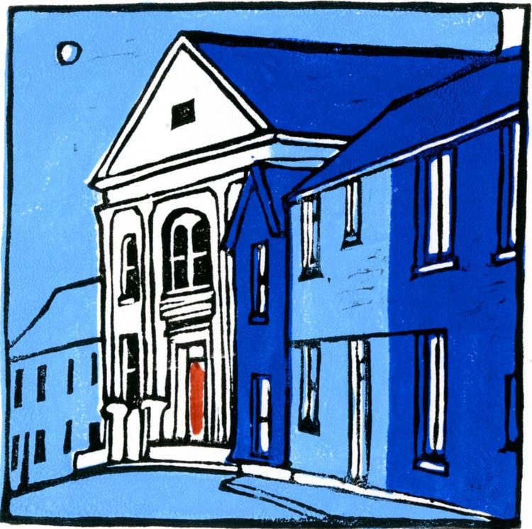 Lino cut print, chapel, Gadlys, Aberdare, Wales, art