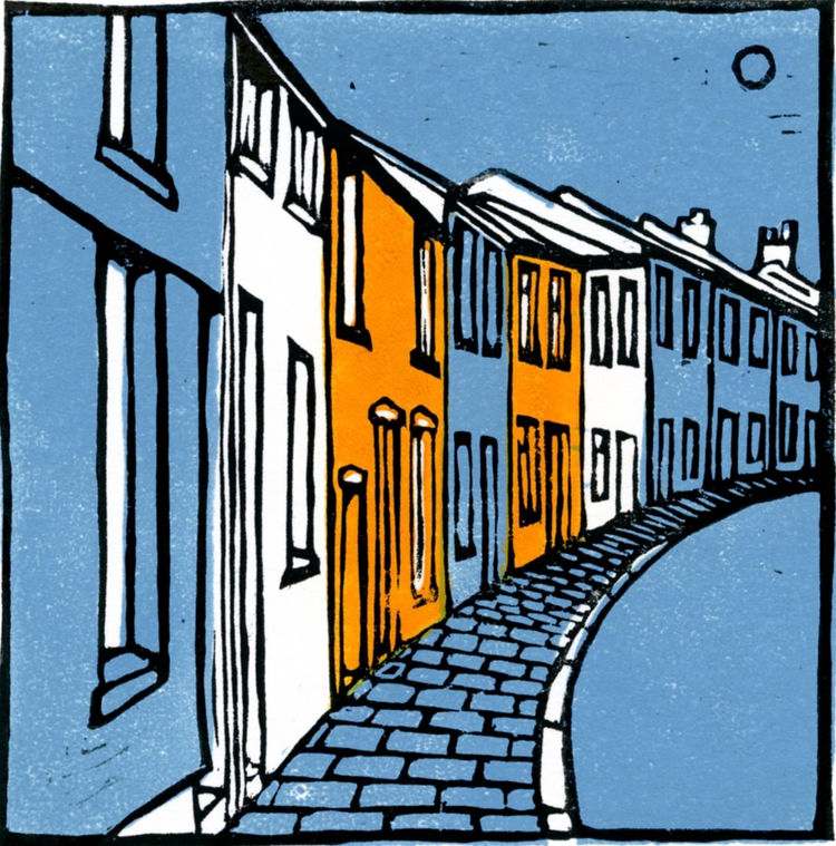 terraced houses, lino cut, print, Aberdare, South Wales, art