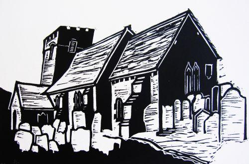 church, wales, abergavenny, Cwmyoy, lino, print, art