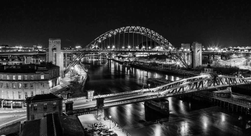 Evening River Tyne Black and White