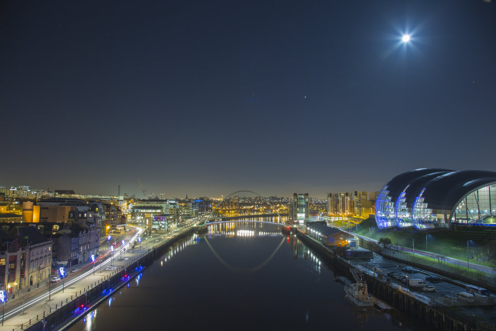 Full Moon over Newcastle Quayside