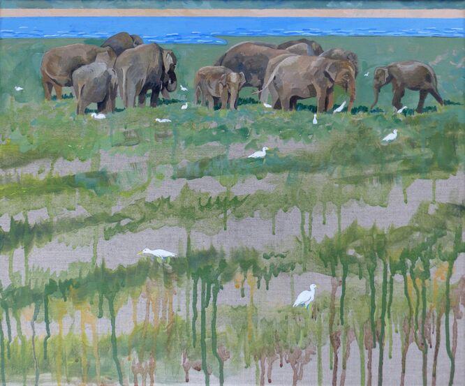 Elephants at the Tank - Val Thorpe