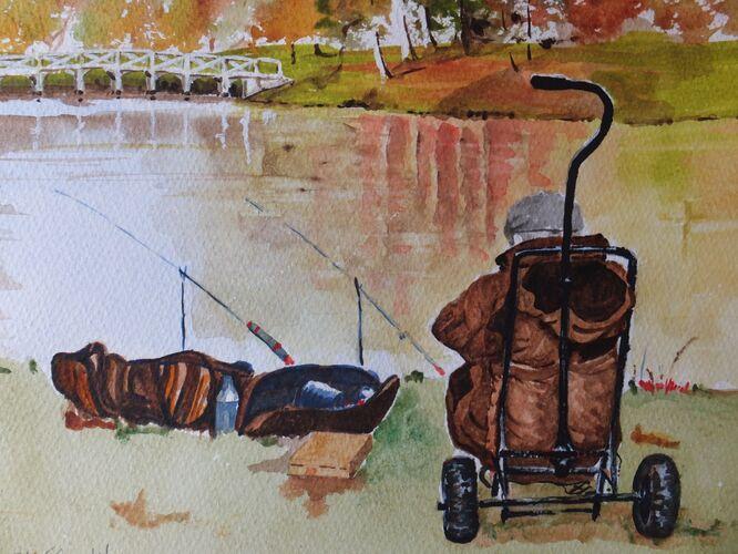 Fishing at Painshill 2 - David Harmer