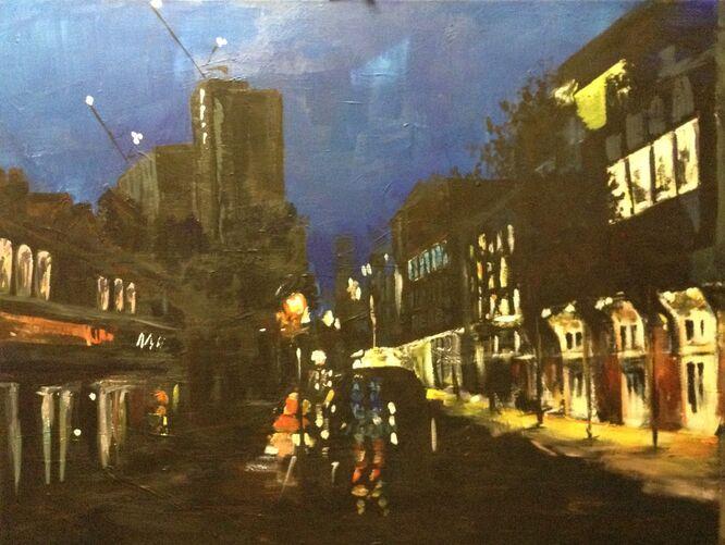 Street Scene at Night in Woking - Kathy Lemmer