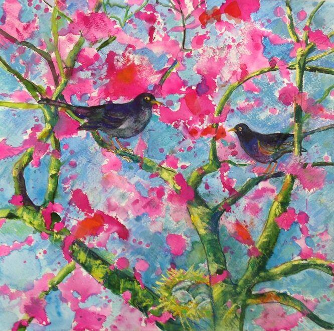 Blackbirds and Blossom - Margaretha Shepherd