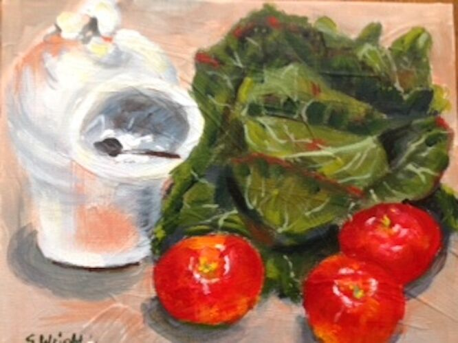 Cabbage, tomatoes and salt pig  – Sue Wright