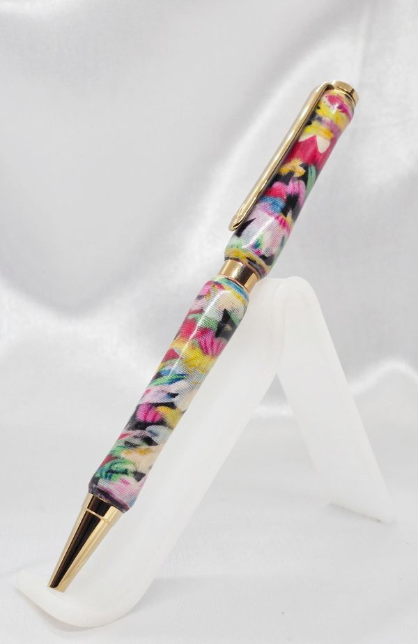 Titanium Gold Plated Slimline Pen made with Cotton Fabric